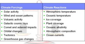 Climate Forcings and Reactions