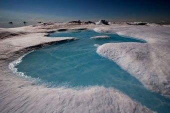 Meltwater pond on an iceberg, Northwest Greenland