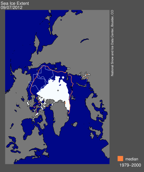 Arctic Sea Ice Map - Sep 7, 2012